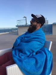 Me being cold and lazy on holiday